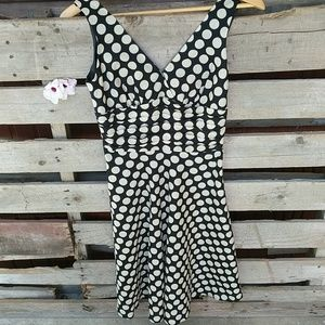 Black and cream polka dot dress size small